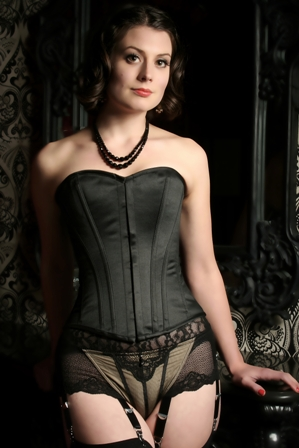cuvy black satin over the bust corset